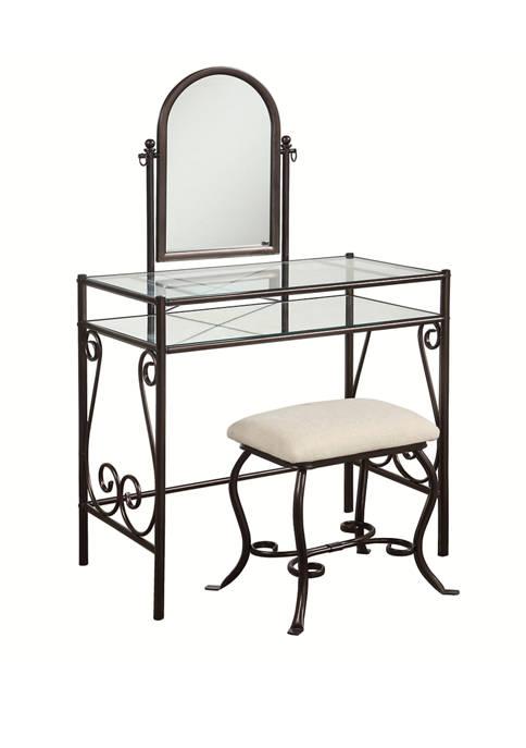 Linon Home Décor Products Olivia Metal Vanity Set