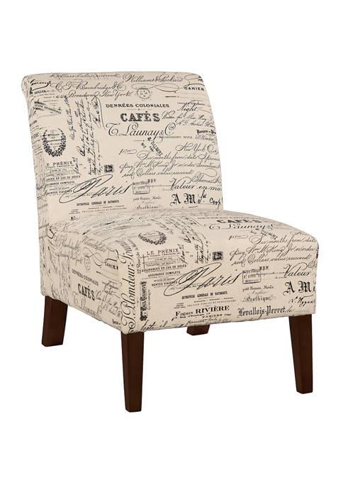 Linon Home Décor Products Mackenna Linen Script Chair