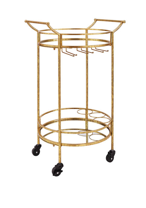 Linon Home Décor Products Johnson Round Gold Metal