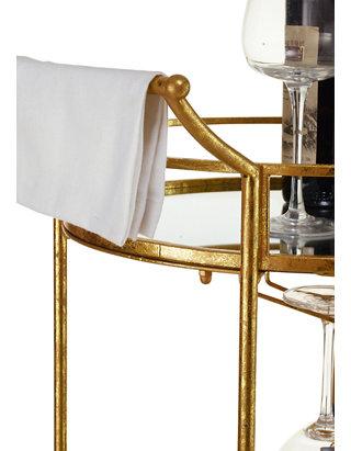 Johnson Round Gold Metal Bar Cart