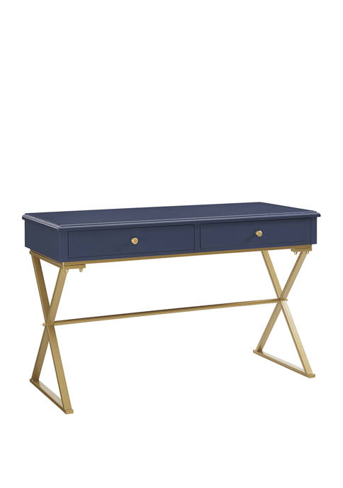 Linon Home Décor Products Pryce Blue and Gold