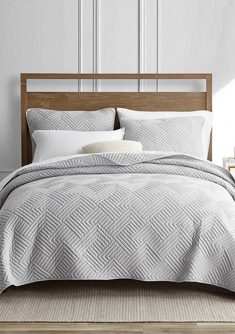HOME RESORT COLLECTION Garment Washed Grid 3-Piece Gray