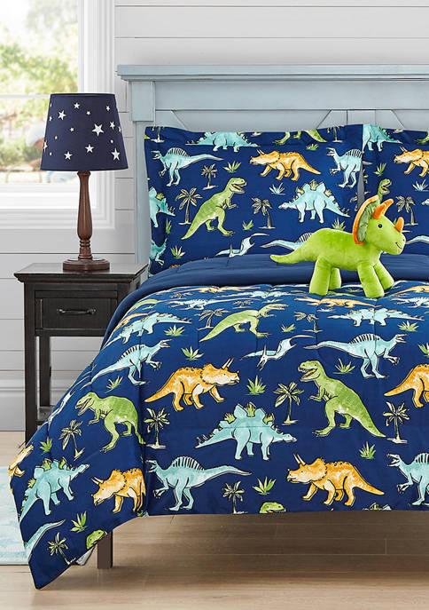 Mytex Watercolor Dinosaur Comforter Set with Dinosaur Novelty