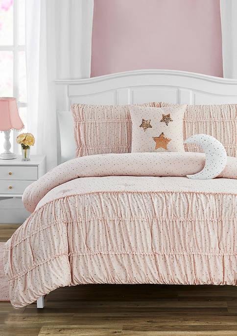 MADISON PARKER Celestial Princess Pink Smocked Texture Comforter