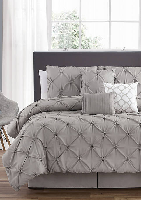 7 Piece Smocked Cirlce Comforter Set