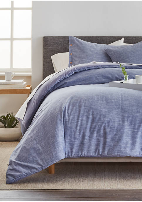 Chambray 3 Piece Full/Queen & King Comforter Set - Blue