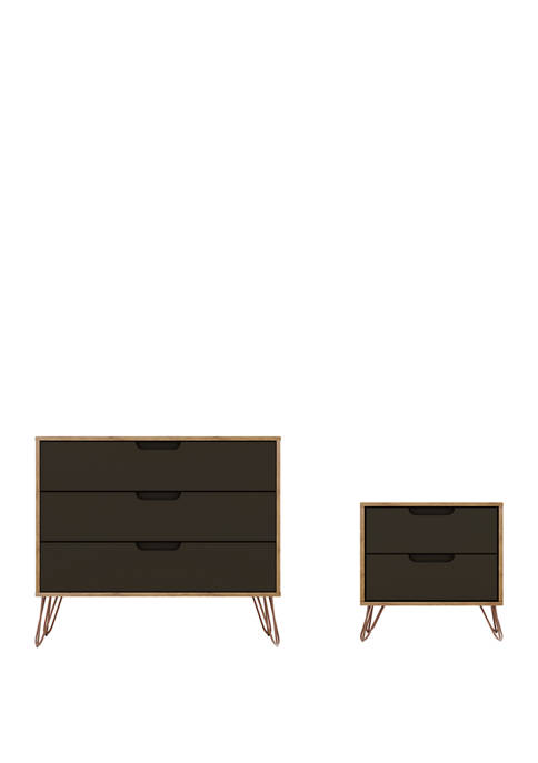 Manhattan Comfort 2 Piece Rockefeller Dresser and Nightstand