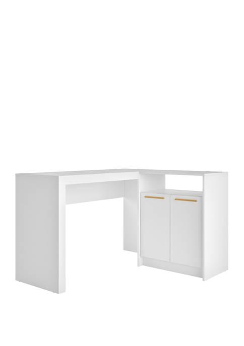 Manhattan Comfort Kalmar L-Shaped Office Desk with Inclusive