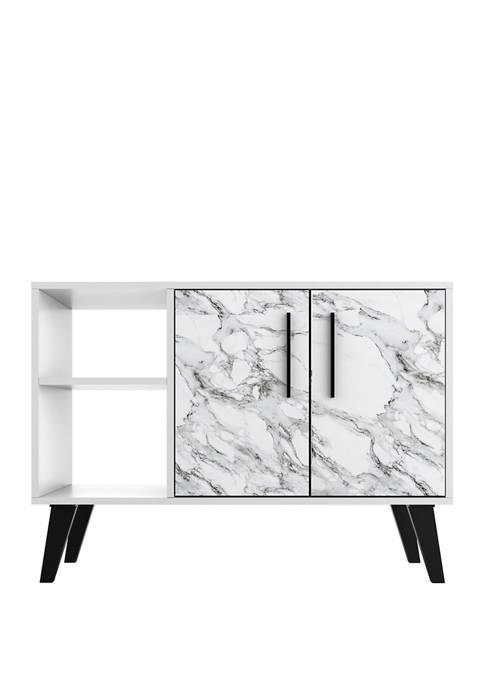 Manhattan Comfort 35.43 Inch White Marble Amsterdam Sideboard