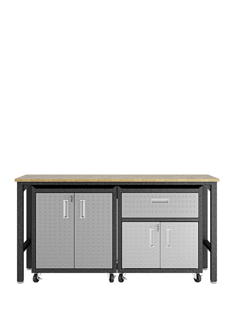 3 Piece Gray Fortress Mobile Garage Cabinet and Worktable 2.0
