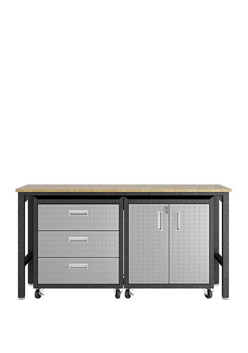 Fortress 3 Piece Mobile Garage Cabinet and Worktable 3.0