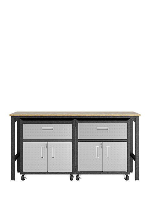 3 Piece Gray Fortress Mobile Garage Cabinet and Worktable 4.0
