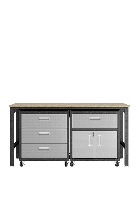 3 Piece Gray Fortress Mobile Garage Cabinet and Worktable 5.0