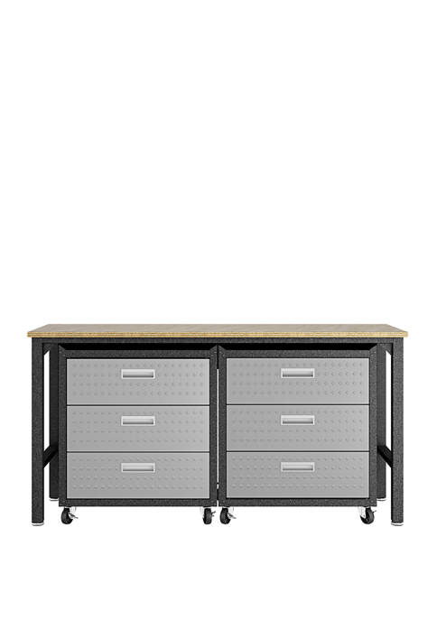 Fortress 3 Piece Mobile Garage Cabinet Chests and Worktable 6.0