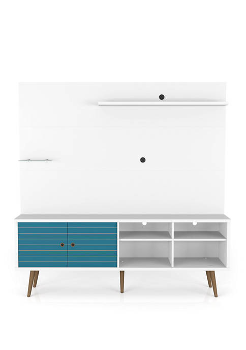 70.87 Inch White and Aqua Blue Liberty Freestanding Entertainment Center