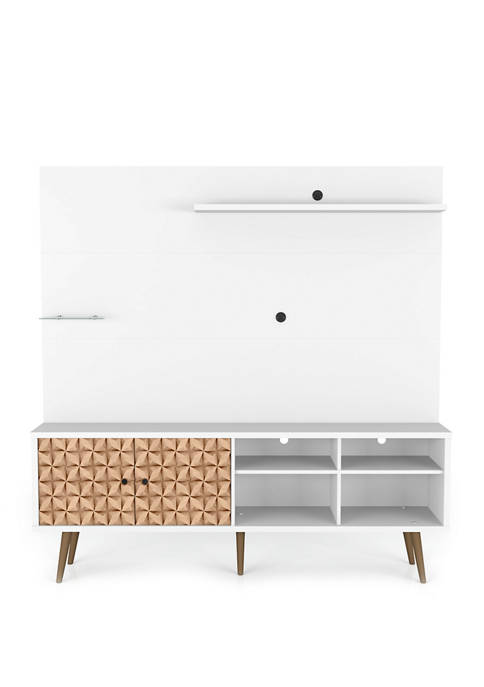 70.87 Inch White and Brown Liberty Freestanding Entertainment Center