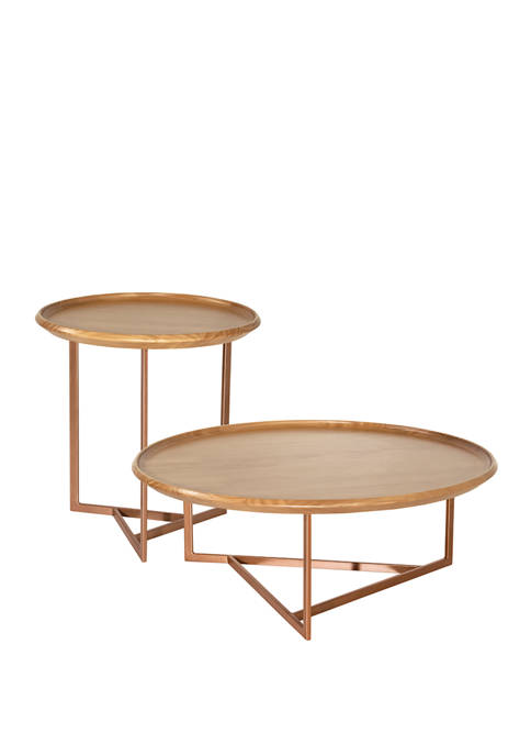 Manhattan Comfort 2 Piece Knickerbocker Accent Table Set