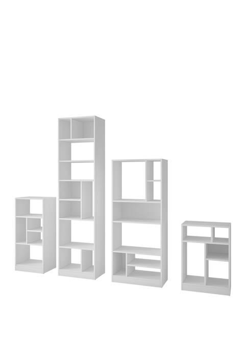 Manhattan Comfort 4 Piece Valenca Bookcase Collection Set