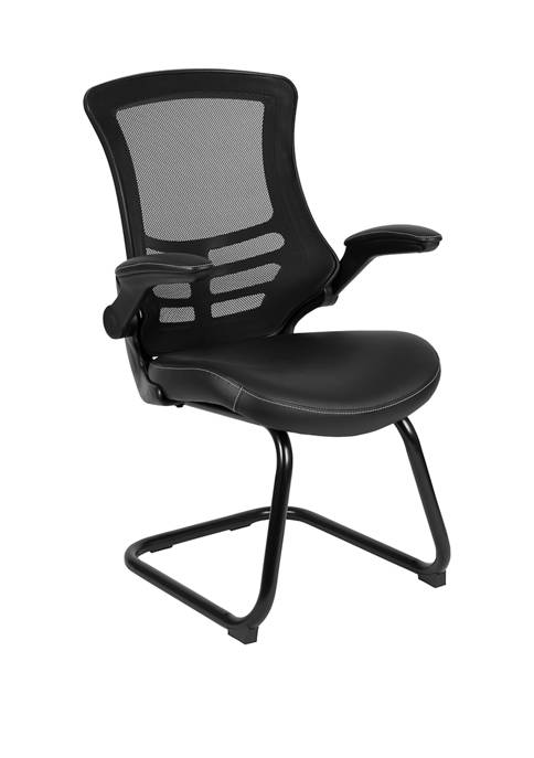 Mesh Sled Base Side Reception Chair with Flip Up Arms