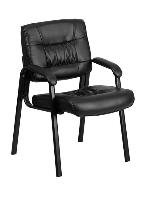 LeatherSoft Executive Side Reception Chair with Powder Coated Frame