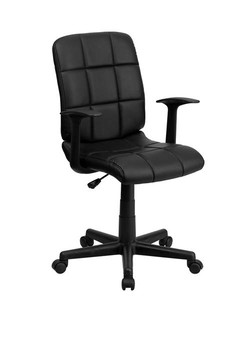 Mid-Back Quilted Vinyl Swivel Task Office Chair with Arms
