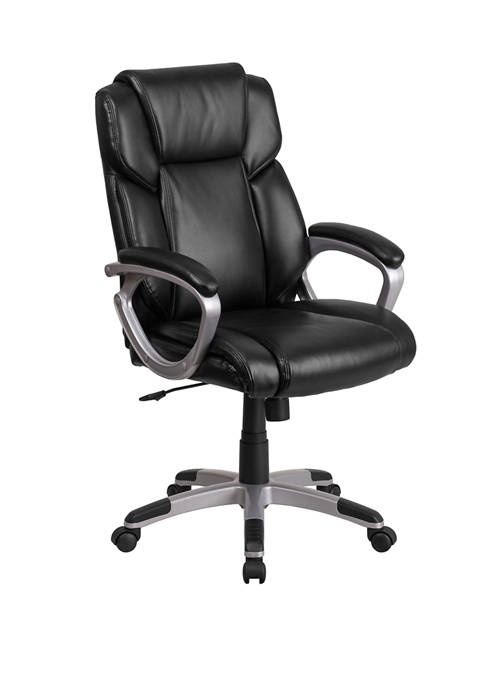 Mid Back LeatherSoft Executive Swivel Office Chair with Padded Arms