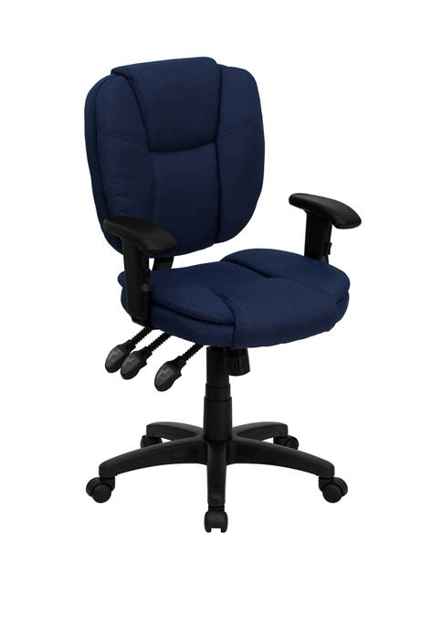 Mid Back Multifunction Swivel Ergonomic Task Office Chair with Pillow Top Cushioning and Adjustable Arms