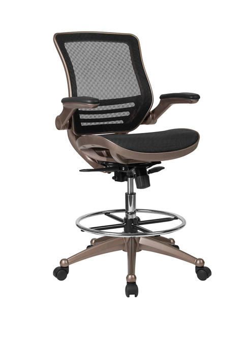 Flash Furniture Mid-Back Transparent Mesh Drafting Chair with
