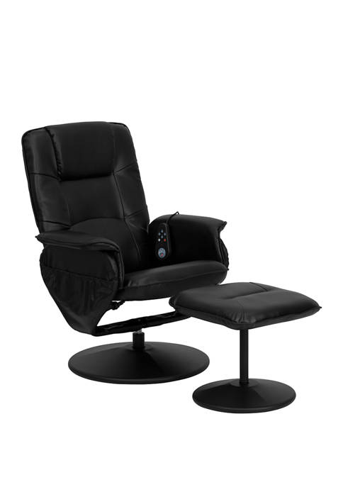 Massaging Multi-Position Recliner with Deep Side Pockets and Ottoman with Wrapped Base
