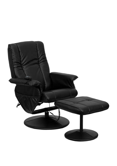 Massaging Multi Position Recliner and Ottoman with Wrapped Base