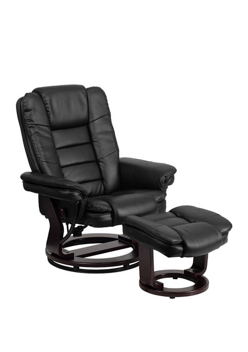 Contemporary Leather Recliner with Horizontal Stitching and Ottoman with Swiveling Mahogany Wood Base