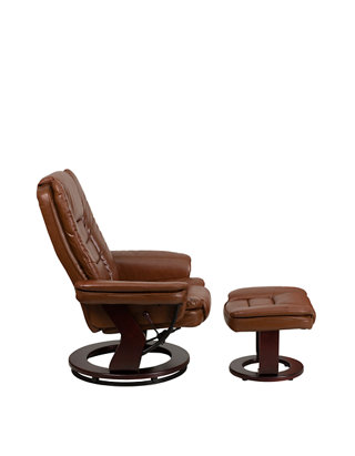 Tremendous Contemporary Leather Recliner With Horizontal Stitching And Ottoman With Swiveling Mahogany Wood Base Dailytribune Chair Design For Home Dailytribuneorg