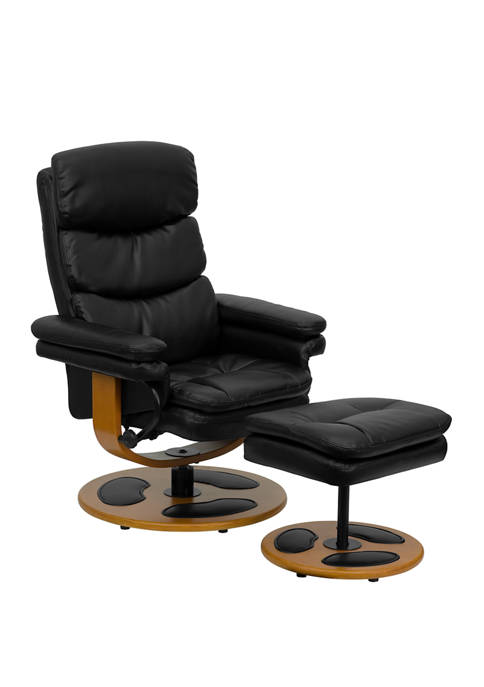 Contemporary Multi Position Recliner and Ottoman with Wood Base