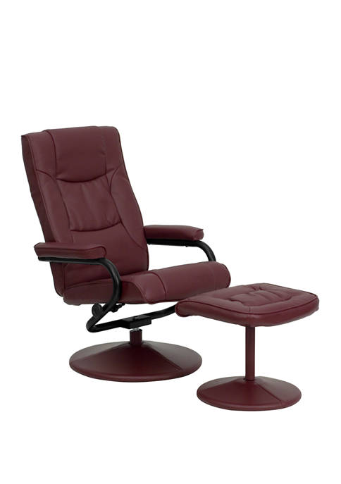 Contemporary Multi Position Recliner and Ottoman with Wrapped Base