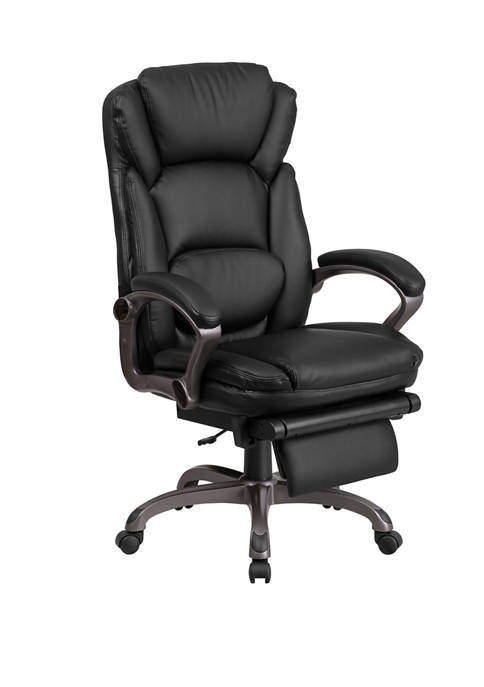 High Back LeatherSoft Executive Reclining Swivel Office Chair with Outer Lumbar Cushion and Arms