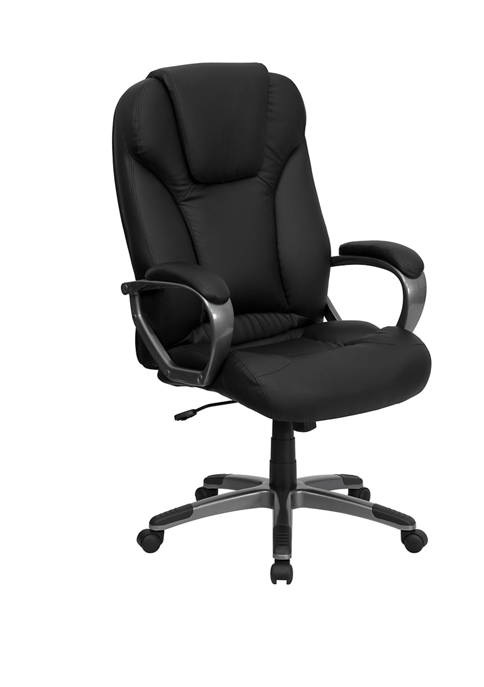 High Back LeatherSoft Executive Swivel Office Chair with Titanium Nylon Base and Arms