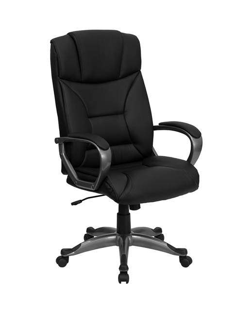 High Back LeatherSoft Executive Swivel Office Chair with Lip Edge Base and Arms