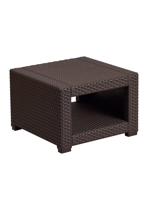 Faux Rattan End Table