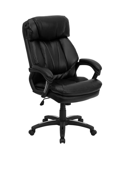 High Back LeatherSoft Executive Swivel Ergonomic Office Chair with Plush Headrest, Extensive Padding and Arms