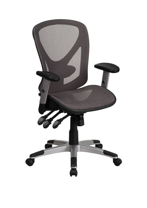 Mid-Back Transparent Mesh Multifunction Executive Swivel Ergonomic Office Chair with Adjustable Arms