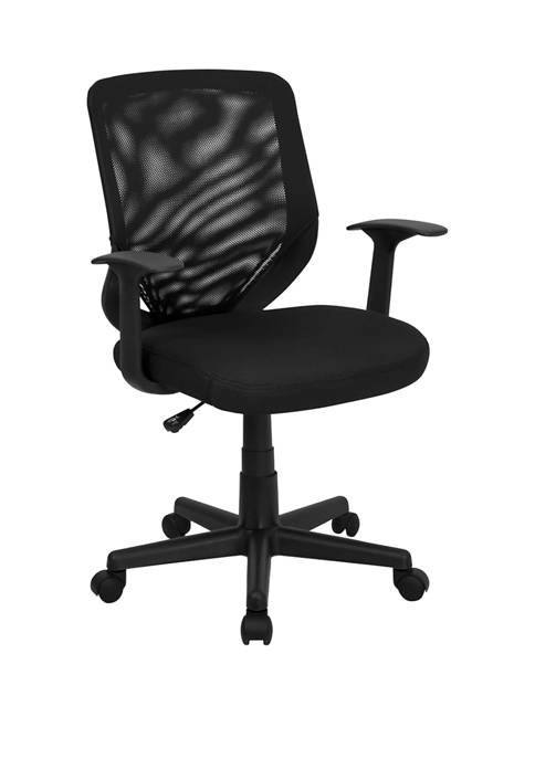 Mid Back Mesh Tapered Back Swivel Task Office Chair with T Arms