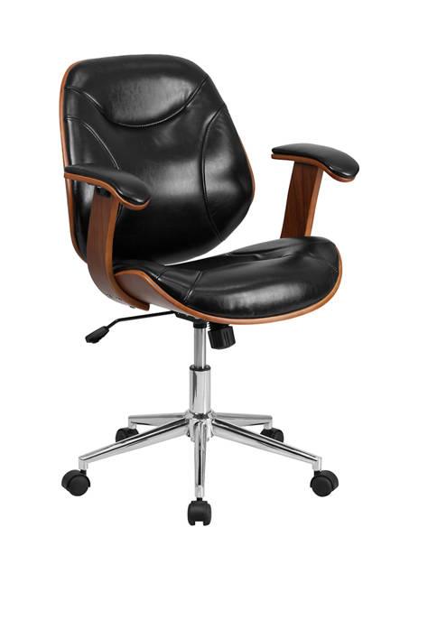 Flash Furniture Mid-Back LeatherSoft Executive Ergonomic Wood