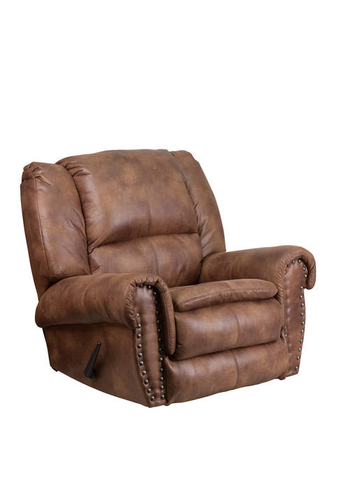 Contemporary, Breathable Comfort Fabric Rocker Recliner with Brass Accent Nail Trim