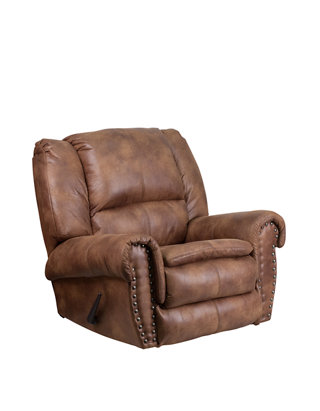 Marvelous Contemporary Breathable Comfort Fabric Rocker Recliner With Brass Accent Nail Trim Machost Co Dining Chair Design Ideas Machostcouk