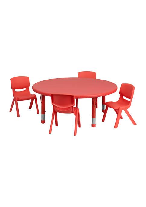 Adjustable 5 Piece Round Activity Table Set