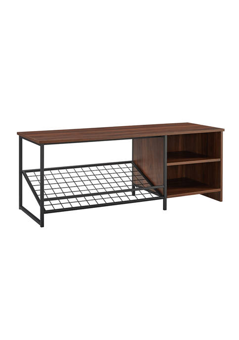 48 Inch Industrial Entry Bench with Shoe Storage