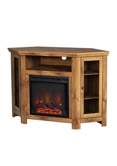 48 Inch Farmhouse Corner Fireplace TV Stand