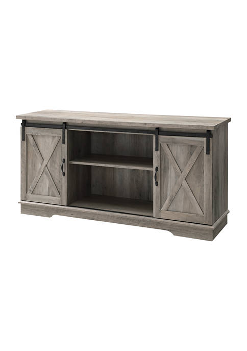 58 Inch Farmhouse Sliding Door TV Stand