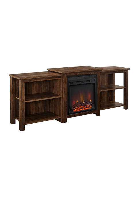 70 Inch Tiered Top Open Shelf Fireplace TV Stand