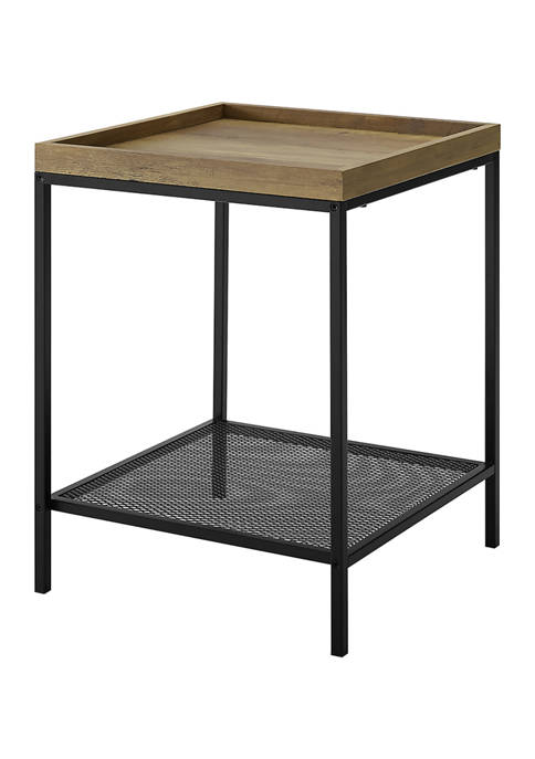 Bridgeport Designs Square Tray End Table with Shelf